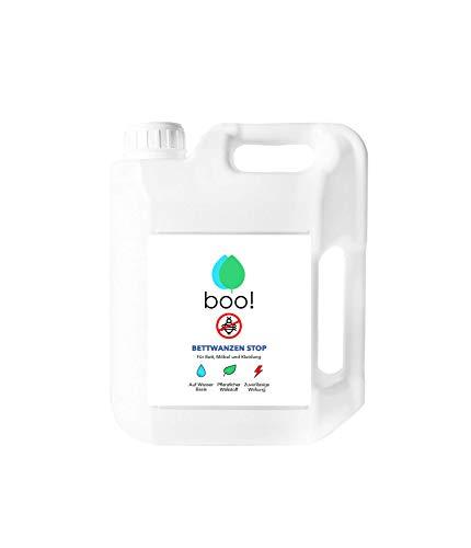 boo! Bettwanzen Stop - Bettwanzen-Spray Mit Langzeitwirkung - Hochwirksames Insektizid Auf Wasserbasis - 5 Liter