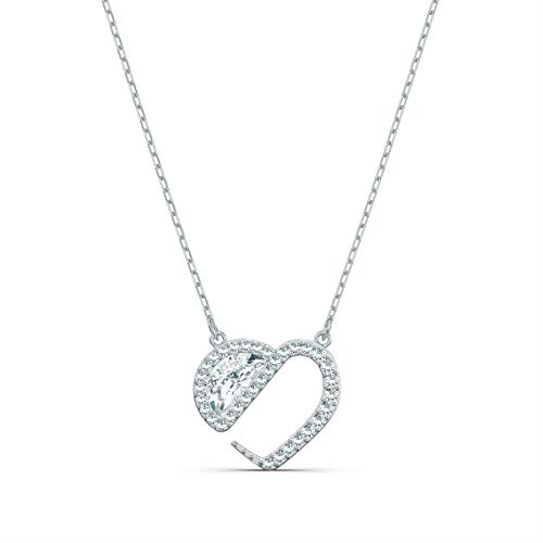 Swarovski Hear Heart Halskette, Rhodinierte Damenhalskette mit Herz-Anhänger und Funkelnden Swarovski Kristallen