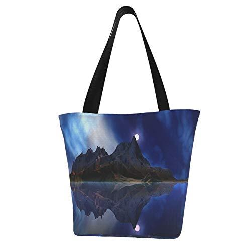 Bolsas de la compra, Moonrise Accension Island David Jackson lona, bolsas de viaje, reutilizables y plegables, grandes y duraderas, bolsas de compras resistentes