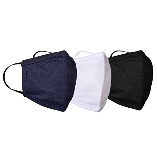 3 Piece Set Pure Cotton Reusable Face Mask - Fabric Face Cover, Washable & Breathable Mouth Mask (Black,White,Blue)