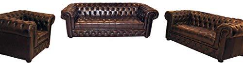 JVmoebel Chesterfield Sofagarnitur Polster Sitz Sofa Couch Garnitur 3+2+1 Ledersofa Sofas