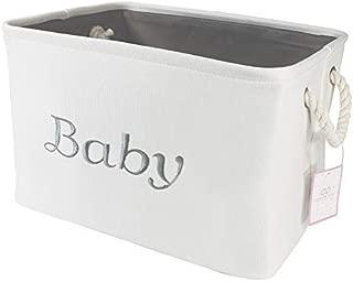 Storage Basket for Nursery, Baby girl or boy, White Canvas fabric Storage Bin with Gray Embroidering. Perfect as Nursery Organizer and Storage, Decorative storage box. Great Baby Shower Basket idea.