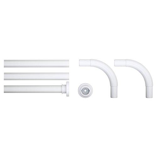 Sealskin Kombi-Winkel Duschvorhangstange, Aluminium, Farbe: weiß, Durchmesser 28 mm, 90 x 90 x 90 cm