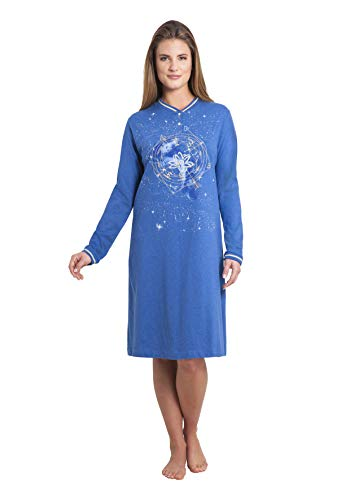 hajo Damen Nachthemd Sleepshirt, Blau (jeansmelange 603), 40/42