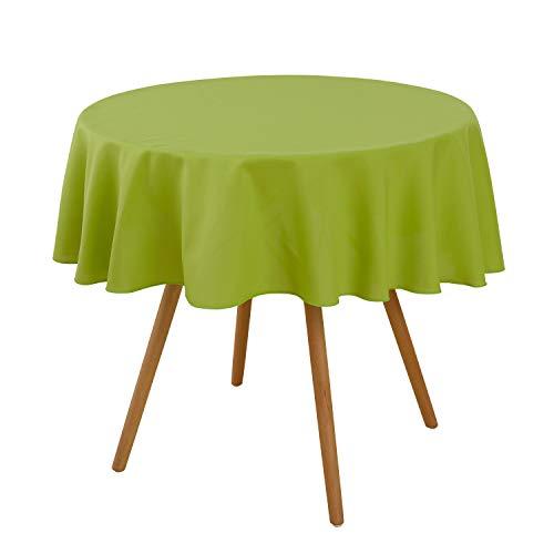 Deconovo Rund Tischdecke Tischwäsche Wasserabweisend Tischtücher 140 cm Grün
