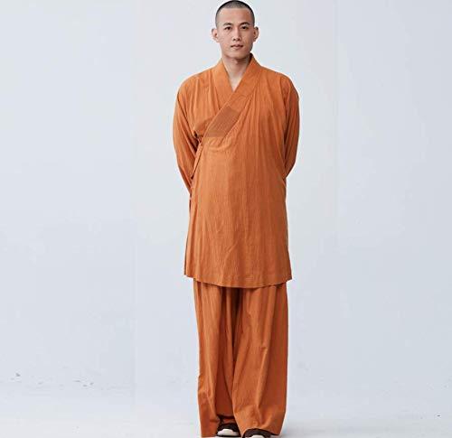AMhuui El Templo de Shaolin Zen Budista, Bata Monk meditación Kung Fu Vestido Unisex Vestido Largo Templo de Shaolin Lohan Zen Kung Fu Wushu Traje Traje Unisex