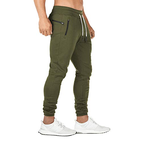 FEDTOSING Jogginghose Herren Fitness Spotshose Slim Fit Trainingshose Sweatpants Chino Baumwolle Taschen(Grün M)
