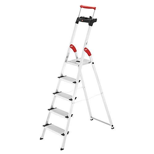 Hailo L85 ComfortLine Alu-Sicherheits-Stehleiter | 5 XXL-Stufen belastbar bis 150 kg | tiefe Standfläche & Haltegriff |Stehleiter mit Ablage | Aluleiter made in Germany | Leiter rostfrei | silber