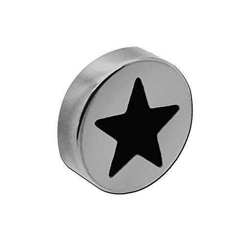 tumundo Magnete Rund Stern Ø 10mm Magnetisch Haftmagnet Farbig Edelstahl Für Pinnwand Büro Haushalt Kühlschrank, Stückzahl:10 Stück - schwarz