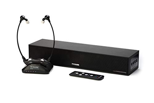 TV Ears Voice Clarifying Sound Bar and Long Range Headset – TV Speaker System for Hearing Impaired TV Viewers – Remote Sound bar Compatible with Any Television and 1 Rechargeable Wireless Headset
