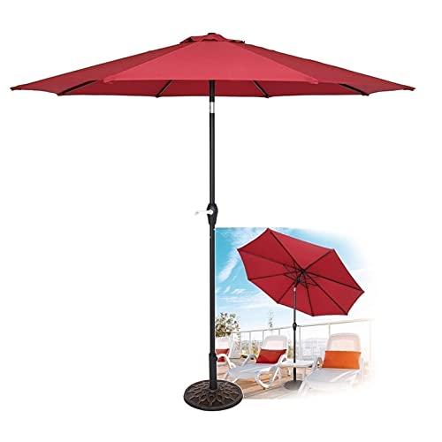 SKYWPOJU 2.7M Patio Tilt Umbrella Sun Parasol Jardín al Aire Libre Parasol Marco de Hierro con manivela (Color : Red)