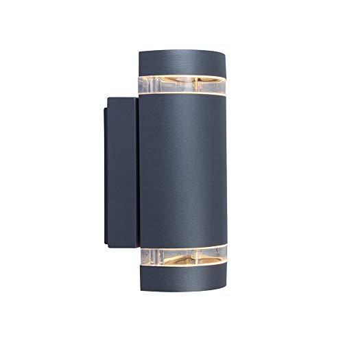 Eco Light Moderne Außenwandleuchte Focus Up- und Downlight, Fassung GU10, IP44 6040 GR, Grau