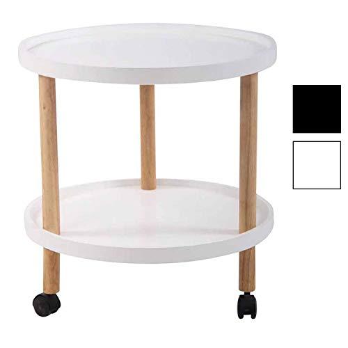 CLP Beistelltisch Odense I Couchtisch Mit MDF Tischplatte I Tisch Mit Kautschukholz I 3 Laufrollen Weiß