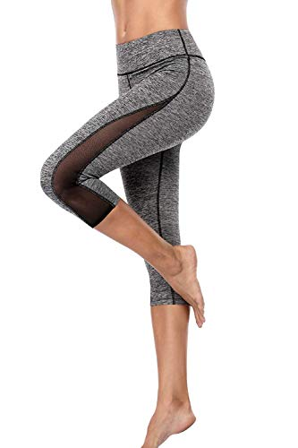 Anwell Sporthose Damen Stretch Laufhose Kompression Damen 3/4 High Waist Training Elastische Yogahose Bauchweg Grau L