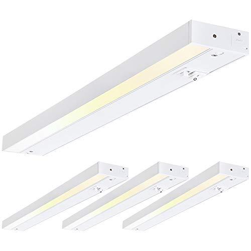 TORCHSTAR LED Under Cabinet Light, 22 Inch, 16W, Dimmable, Linkable, 3 Color Levels - 3000K/4000K/5000K, Hardwired or Plug-in, 120V, ETL & Energy Star, White Finish, Pack of 4