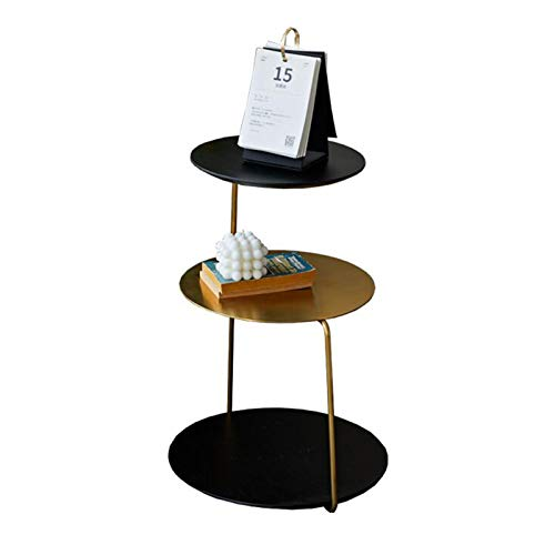 Jcnfa-side table Stainless Steel Titanium Plated Edge Table,3-tier Storage Design,Multifunctional Side Table(Size:15.35 * 15.35 * 22.83in,Color:brass + black)