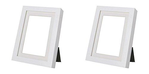 Ikea Knoppäng Ribba Tapis de cadres (inclus) 5x 7in./13x 18cm, Lot de 2, Bois dense, blanc, 5x7