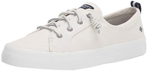 Sperry Womens Crest Vibe Linen Sneaker, White, 8.5