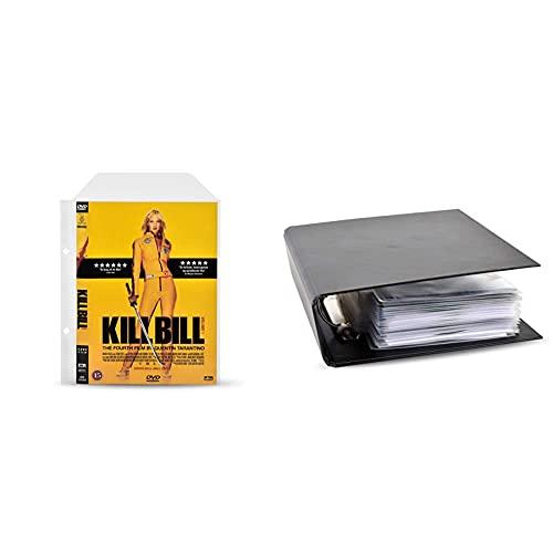 3L Fr 10282 – DVD-Hüllen, perforiert, transparent, mit Klappe, 100 Stück und Fr 10284 Aufbewahrungsbox mit 2 Ringen, Schwarz, für CD-/DVD-Hüllen, Blu-Ray – Fassungsvermögen Optimal 30 Scheiben, 1 Stück