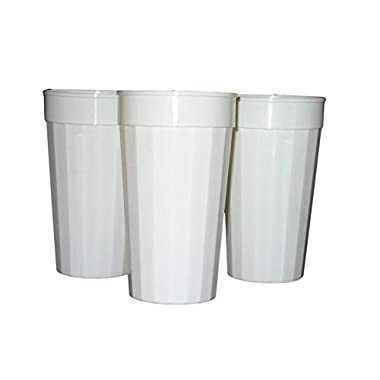 Talisman, Plastic Fluted Drinking Tumblers, Large 32 Ounces, 12 Pack, White