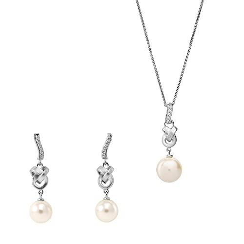 Orphelia Juego de pendientes de plata de ley 925 + colgante con cadena con circonita y perla blanca.