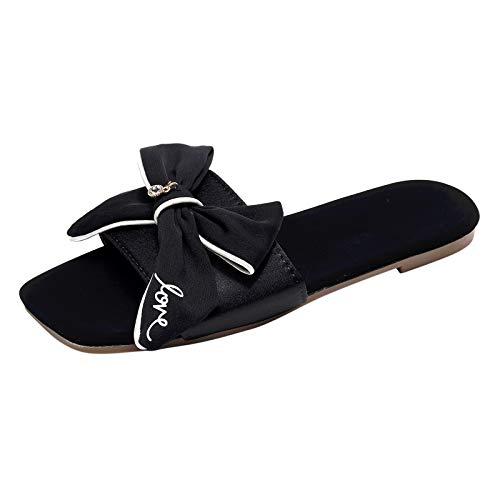 Damen Hausschuhe Bogen Bequem Pantoffeln Kuschelige Home Indoor Outdoor Slippers Freizeit rutschfeste(2-Schwarz/Black,35)