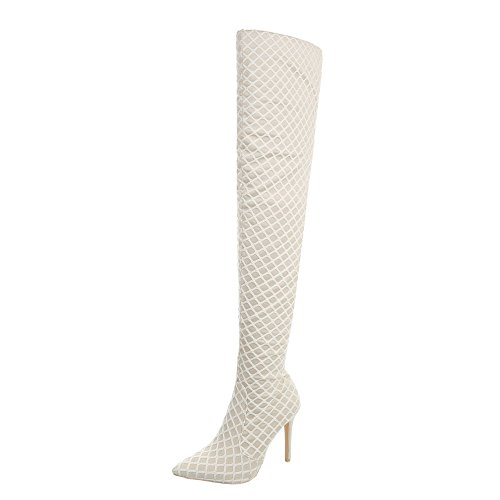 Ital-Design Overknees Damen-Schuhe Overknees Pfennig-/Stilettoabsatz High Heels Reißverschluss Stiefel Beige, Gr 37, Jr-017-