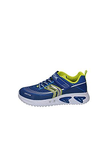Geox Jungen Low-Top Sneaker Assister Boy, Kinder Sneaker,lose Einlage,Blinklicht,Kinderschuhe,schnürschuhe,Blau (ROYAL/Lime),30 EU / 11.5 UK Child