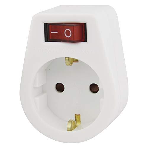 EMOS P00262 Adapterstecker mit Schalter, Weiß, Kindersicherung, IP 20, bis 2500 Watt
