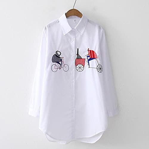 A-HXTM Camisa Blanca Mujer Casual Algodón Suelto Bordado Blusa de Mujer Manga...