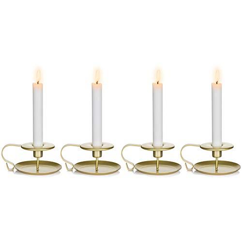 Nuptio Taper Kerzenhalter Kammerstab Kerzenhalter, Gold Tisch Kerzenhalter für Hochzeitsfeier, Kerzenlicht Ständer für Halloween Weihnachten Esszimmer Dekoration Display, 4 Stück