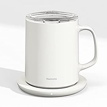 hurkins Smug up to 149℉ coffee Mug warmer & Mug & pctg Lid set self heated cup with wireless charging function office/home for desk  White
