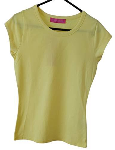 Femme Uni en coton/Lycra à manches courtes T-shirt Jaune – Medium