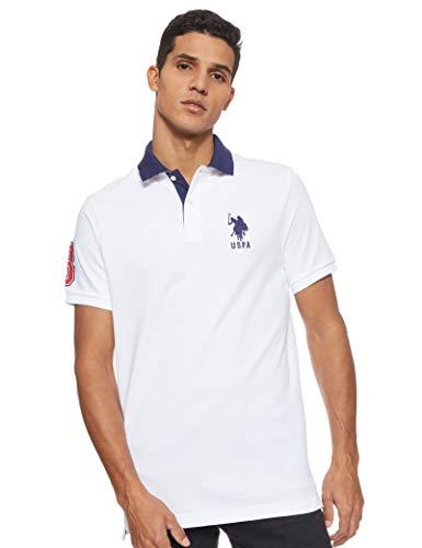 US Polo Assn. Polo da uomo a maniche corte con applique - bianco - M