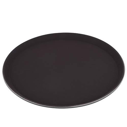 Serveerdienblad - ronde dienblad bord van kunststof voor theeservies vruchten snoepjes levensmiddelen zwart (40cm)