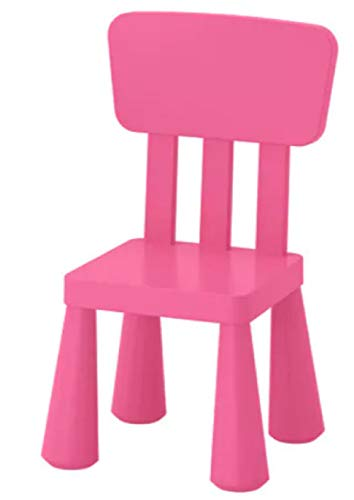 IKEA Mammut 803.823.21 High Back Plastic Children's Chair Suitable for Indoor and Outdoor Use Colour Pink