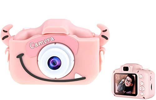 YANGKEE Kamera Kinder, 16MP HD Fotoapparat Digitalkamera Kinder, Fotokamera Camcorder 2 Zoll LCD Bildschirm / 2 Objektive/Selfie / 4X Digitaler Zoom, Weihnachten Geschenk Spielzeug Kinder (Rosa)