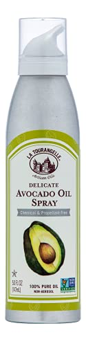 La Tourangelle, Avocado Oil Spray, All-Natural Handcrafted from Premium Avocados, Great for Cooking, Butter Substitute, and Skin and Hair Care, Spray Cooking and Grilling Oil, 5 fl oz
