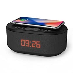 Bedside Radio Alarm Clock with USB Charger, Bluetooth Speaker, QI Wireless Charging, Dual Alarm Dimmable LED Display