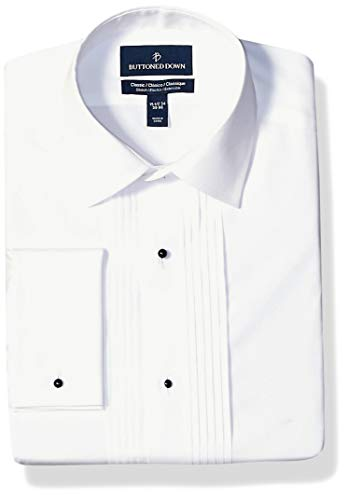Buttoned Down Amazon Brand Men's Classic Fit Easy Care Bib-Front Spread-Collar Tuxedo Shirt, White 16.5' Neck 37' Sleeve