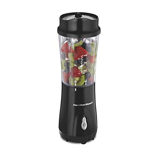 Hamilton Beach Personal Blender for Shakes and Smoothies with 14oz Travel Cup and Lid, Black (51101AV)
