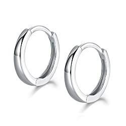 【High Quality Material】: This Small Hoop Earrings is made of 925 Sterling Silver. High Polished, Platinum Plated. Nickel-free, Hypoallergenic, and Shiny Forever. Perfect to keep as a Daily Jewelry. Our Silver Earrings are suitable for almost all Of S...