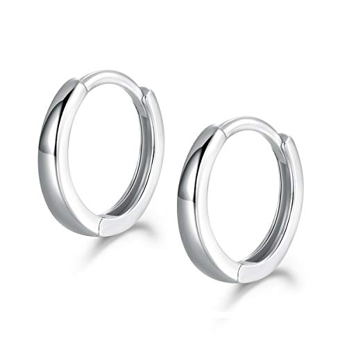 Shuxin Hoop Earrings 925 Sterling Silver, Glossy Huggie Hinged Earrings for Women & Men, Diameter 13mm Hypoallergenic Small Sleeper Hoops Earrings