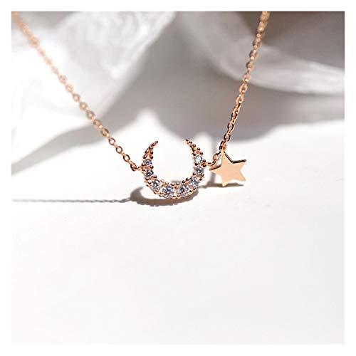 Hermosamente 925 Sterling Silver Moon Star Charm Pulsera Dainty Micro Cubic Zircon Pulsera Colgante para Mujeres Regalos Joyería para su esposa, señoras, mamá ( Color : Gold , Length : 14cm add 4cm )