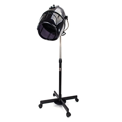 Mefeir Professional Hair Dryer with Bonnet Hood, Adjustable Stand Style with Rolling Wheels, Salon Beauty Equipment 1000 Watt (Black-Add Stable 6.6lbs Iron Plate)
