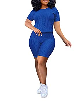 Short Sets Women 2 Piece Outfits-Casual Short Sleeve T-Shirts Bodycon Shorts Set Summer Jumpsuit Rompers Blue