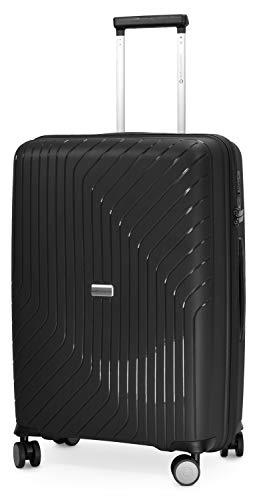 HAUPTSTADTKOFFER- TXL - extra Leichter Hartschalenkoffer, mittelgroßer Check-In Gepäck Rollkoffer 66 cm, Aufgabegepäck aus robustem Polypropylen, Schwarz