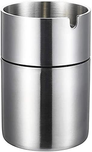 ZWR Cenicero de Acero Inoxidable a Prueba de Viento, cenicero portátil para Fumadores para Patio/Exterior/Interior/hogar/Coche/jardín/Oficina (Color : Silver, Size : 12.3cm)