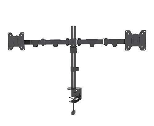 INOTEK DMA 220 - Soporte ergonómico de Escritorio para 2 monitores de 14'' a 30'' (Altura Regulable, inclinable, articulada, orientable, giratoria, hasta 10 kg) - VESA 75x75x100x100