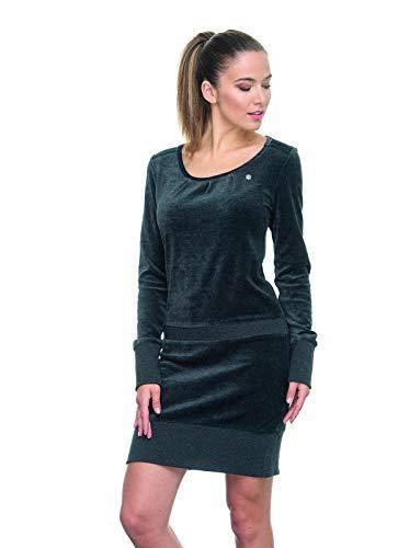 Ragwear Alexa Velvet Damen,Samt-Kleid,Jerseykleid,Shirtkleid,Langarm,vegan,Rundhalsausschnitt,Tunnelzugkordel,Black,S